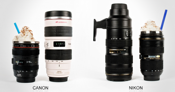 Canon and Nikon Camera Lens Mug