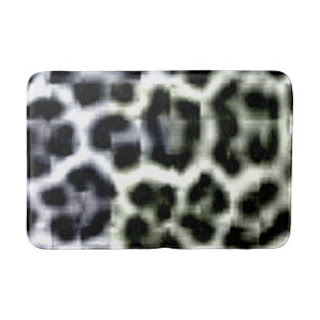 Black and white animal print bath mat