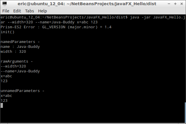 Java-Buddy: Get parameters/arguments in JavaFX application
