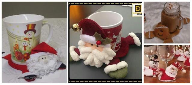 Porta-tazas-navideño-fieltro