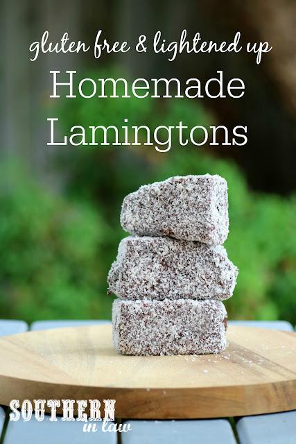 Homemade Gluten Free Lamingtons Recipe - low fat, gluten free, nut free, dairy free, lower sugar, homemade gluten free sponge cake recipe, healthy australia day recipes