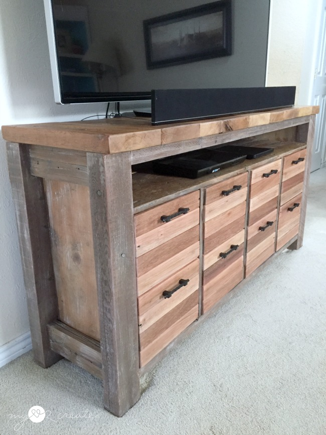 Reclaimed wood media console, with DVD storage