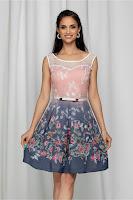 Rochie de ocazie Jacqueline roz cu pliuri