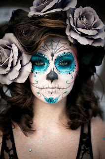 day of the dead makeup teal