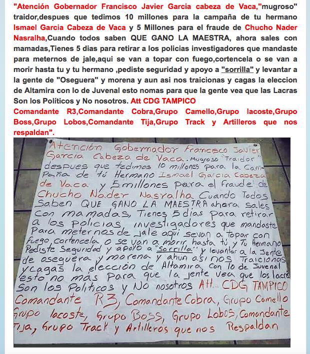 """CRIMINALES EXHIBEN a PRIMO """"PLAGIADO"""" de CABEZA de VACA con NARCOMENSAJE AMENAZADOR del CARTEL del GOLFO...con malos augurios Screen%2BShot%2B2018-08-02%2Bat%2B11.47.29"""