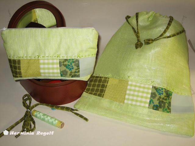 Neceser y bolsa con patchwork