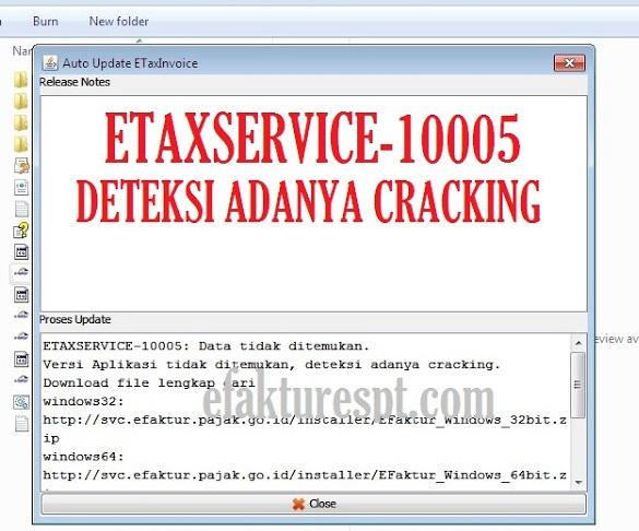 Solusi eFaktur Error ETAXSERVICE-10005 Data Tidak Ditemukan