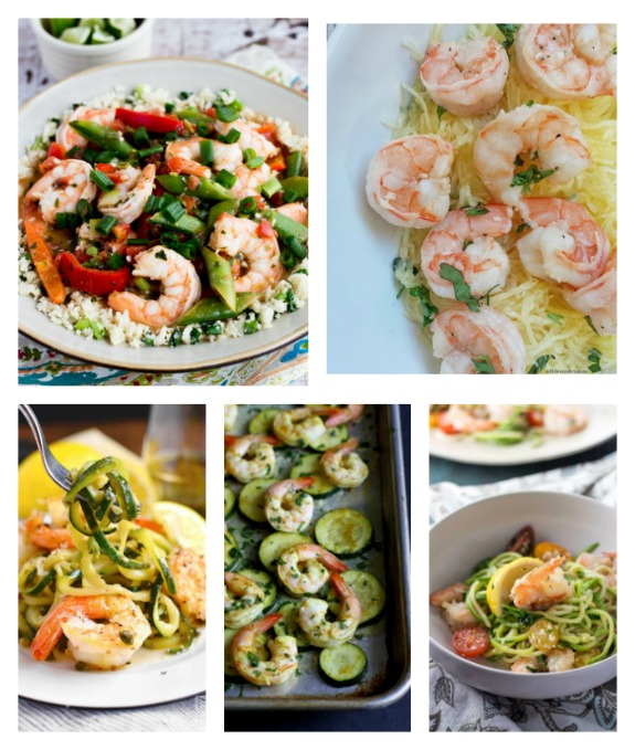 Low-Carb Shrimp Dinner Recipes for Low-Carb Recipe Love on Fridays found on KalynsKitchen.com