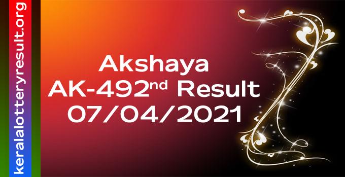 Akshaya AK 492 Lottery Result 7-4-2021