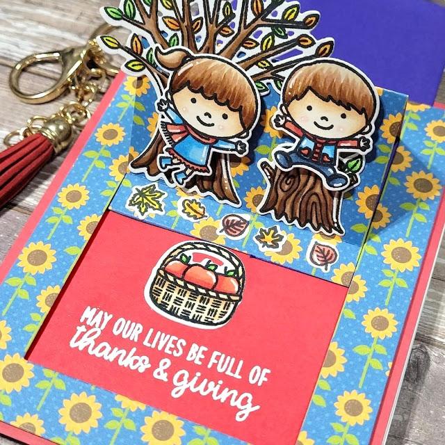 Sunny Studio Stamps: Fall Kiddos Happy Harvest Sliding Window Dies Customer Card by Rebekah Anne