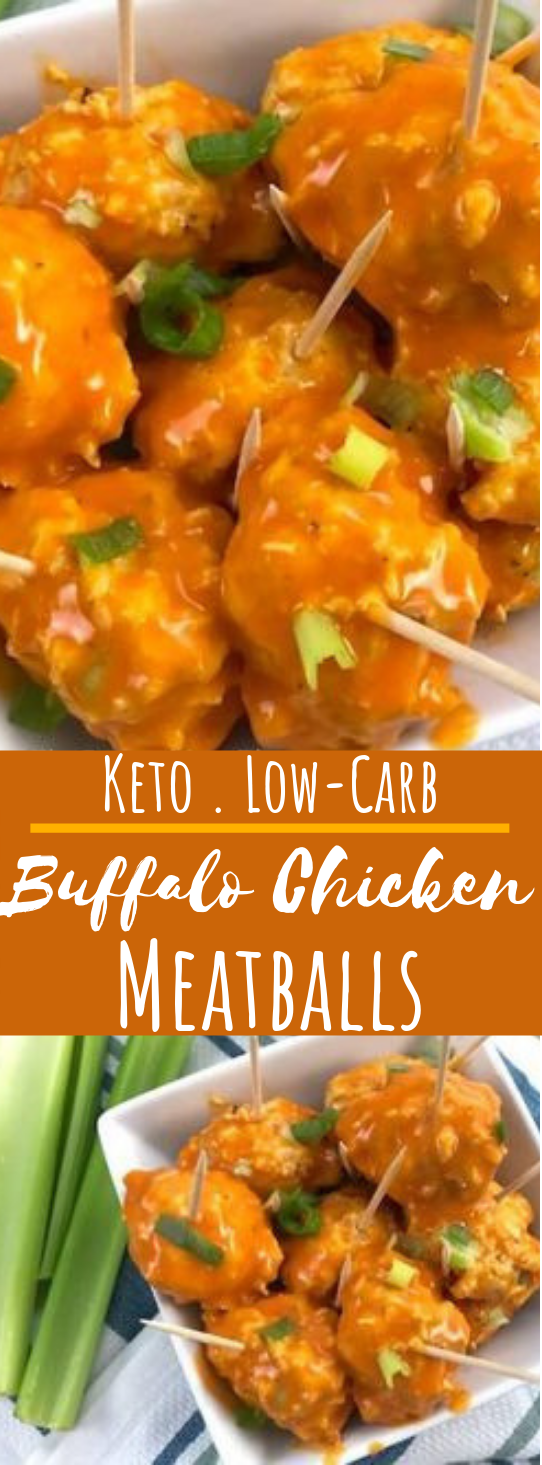 Keto Buffalo Chicken Meatballs #appetizers #keto