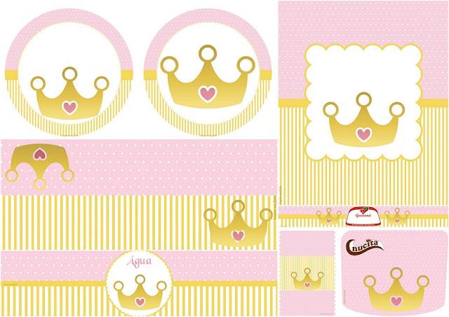 Corona Dorada con Rosa: Etiquetas para Candy Bar para Imprimir Gratis.
