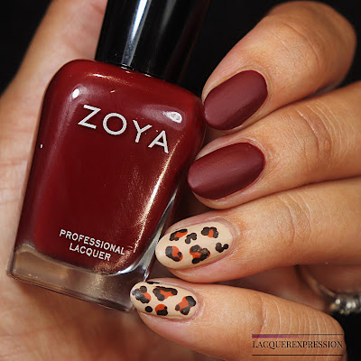 DIY hand painted matte burgundy leopard print nail design