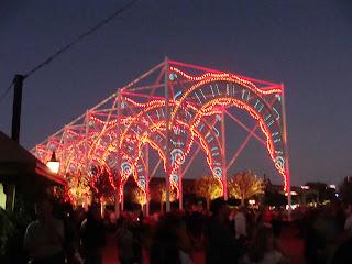 Pink Lights of Winter Epcot Side View Dusk Walt Disney World