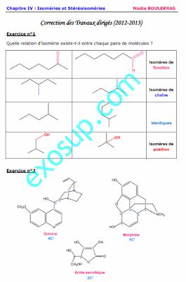 correction solution corrigé TD effets Stéréochimie S3 Isoméries et Stéréoisoméries smc smp