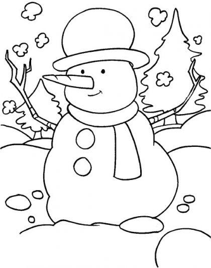 Tranh tô màu người tuyết đẹp