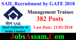 Steel Authority of India Limited, SAIL Recruitment 2018 – 382 Posts - Management Trainee