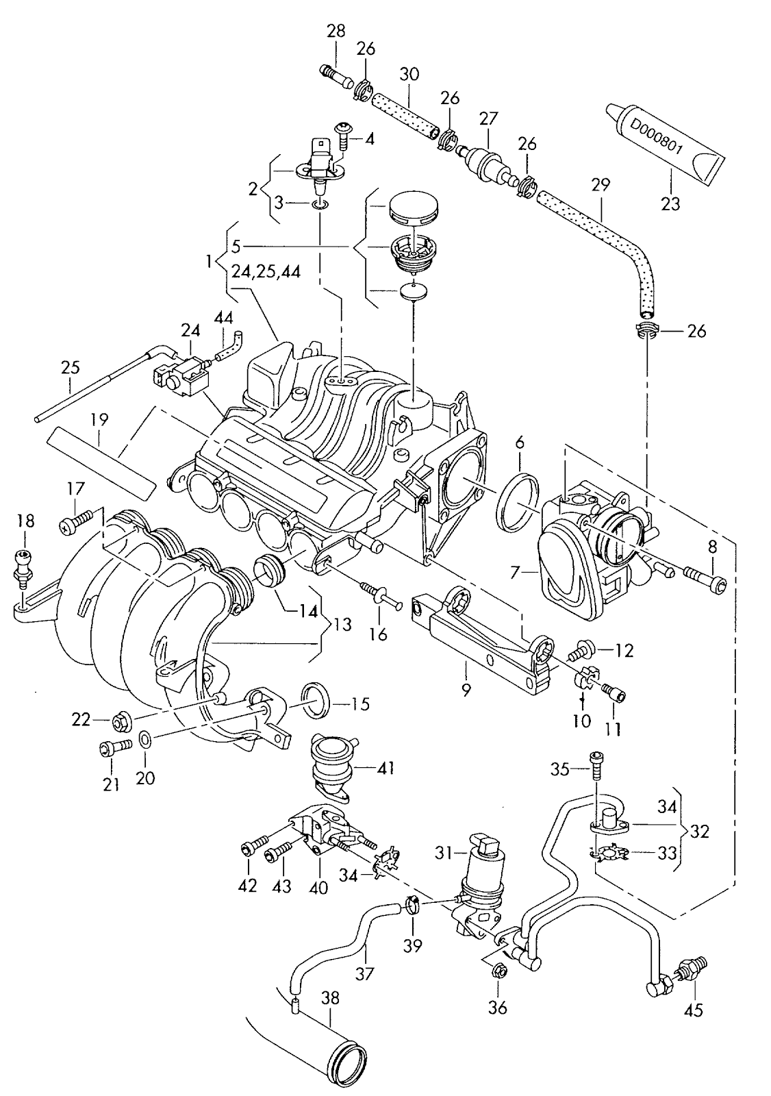 Vw Golf 5 1 6ltr Bgu Throttle Valve Control Element