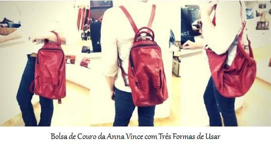 Bolsa de Couro da Anna Vince com Três Formas de Usar