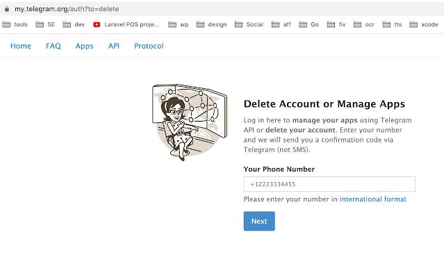 حذف حساب تليجرام نهائياً