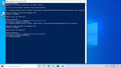 powershell commands to enable wsl2 and virtual machine