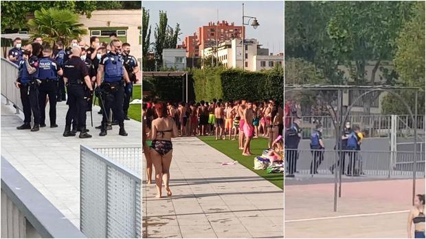 Tres menores detenidos y cinco policías heridos en un altercado en la piscina de Moratalaz