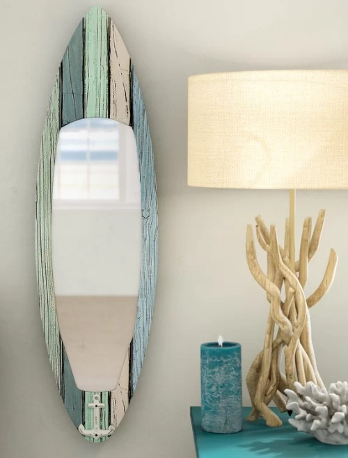 Surfboard Shaped Wall Mirror
