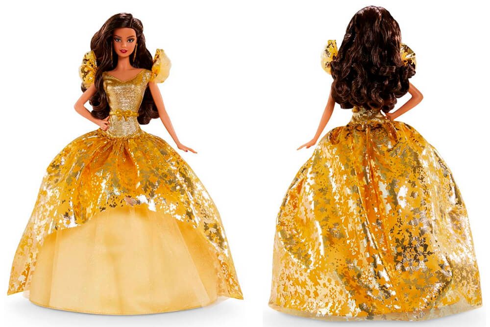 Brown hair Barbie doll in golden Christmas dress