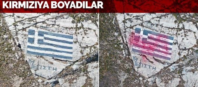 Καστελόριζο: Τούρκοι Βομβάρδισαν Την Ελληνική Σημαία Με Κόκκινη Μπογιά Που Εκτόξευσε Drone (Βίντεο)