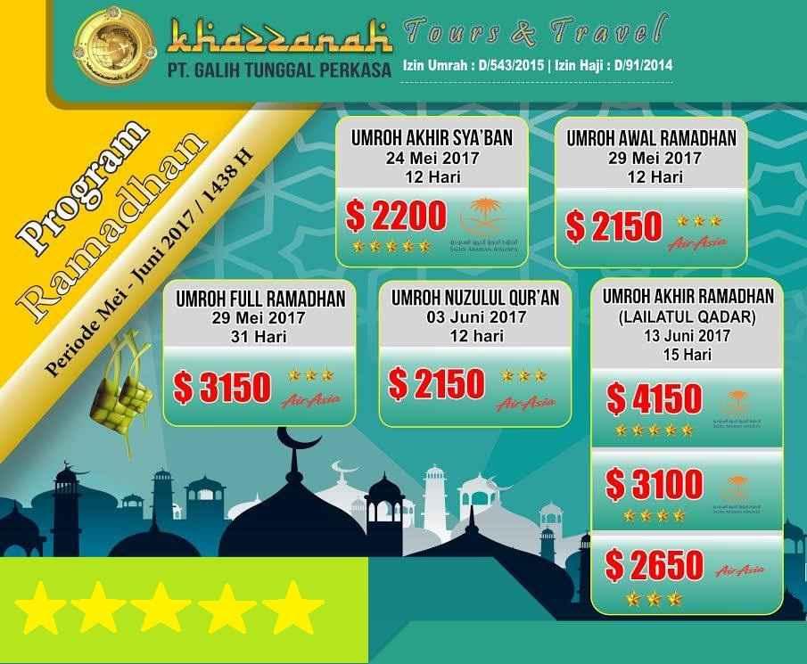 Info Biaya Program Paket Umroh Ramadhan 2017