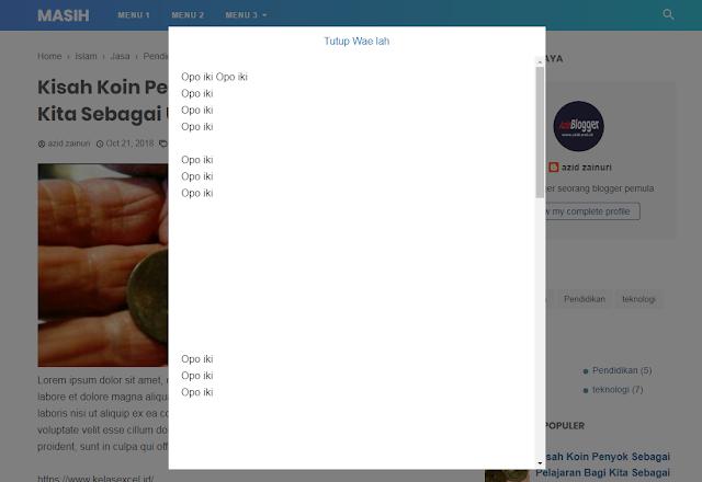 Cara Membuat Tombol Popup Sederhana dengan CSS dan Fungsi Href #