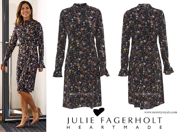 Crown Princess Mary wore Julie Fagerholt Heartmade flower print silk dress