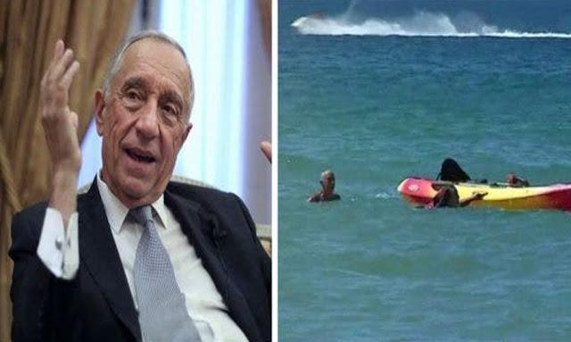 Portugal's President Marcelo Rebelo de Sousa saves two women from surf at popular Algarve beach