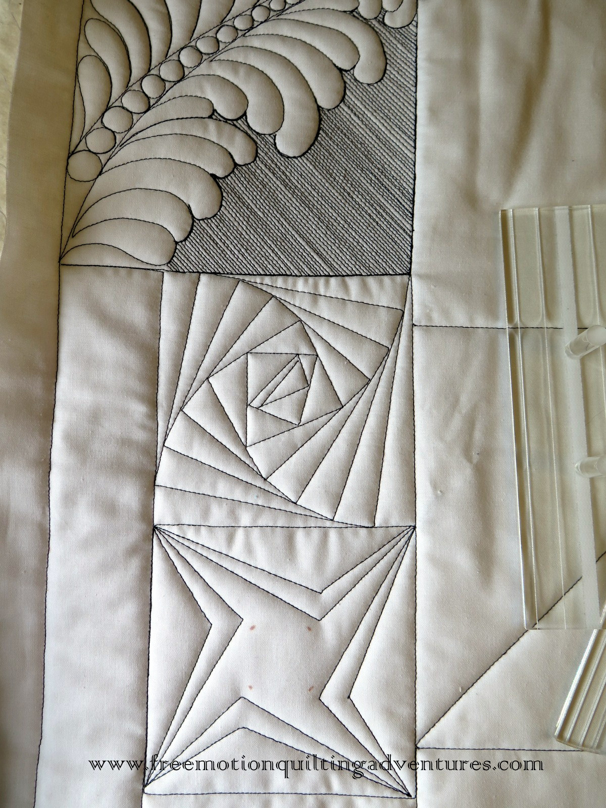 free motion quilting with rulers