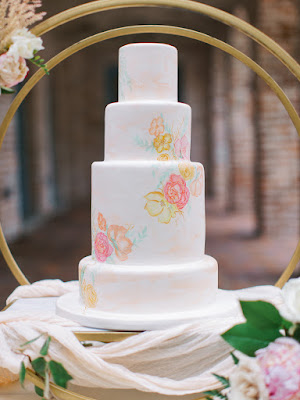 wedding cake and painted flowers