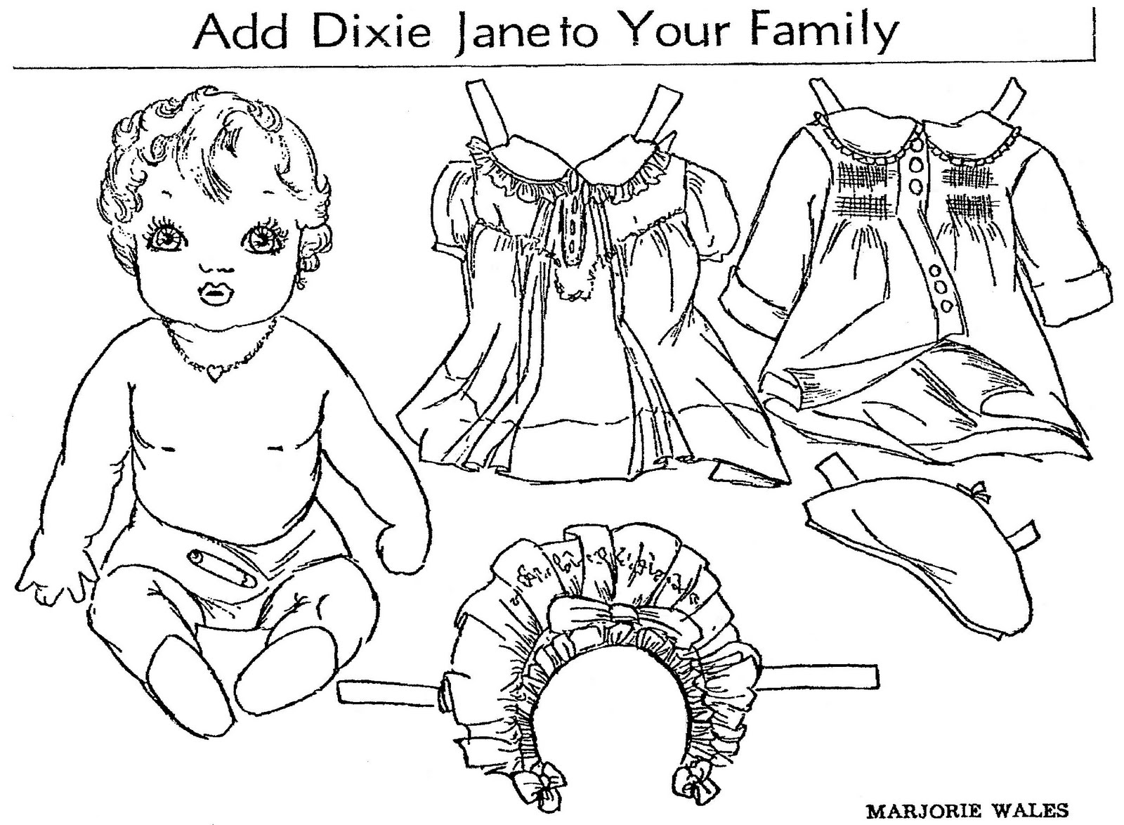 Mostly Paper Dolls: DIXIE JANE Paper Doll, 1936