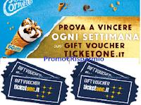 Logo Concorso ''Cornetto 60 anni insieme Algida'': vinci 46 vouchet TicketOne da 200€ e 250€