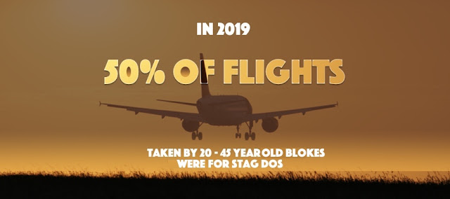Plane taking off with the text about 50% of young male flights are stag dos