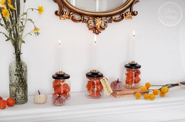 Kerzenglas mit Lampionblumen als Herbstdeko basteln.
