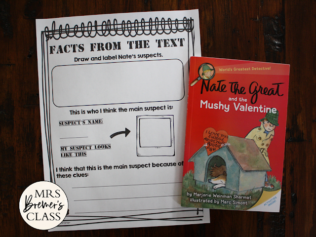 Nate the Great and the Mushy Valentine book study literacy unit with Common Core aligned companion activities for Grades 1-2