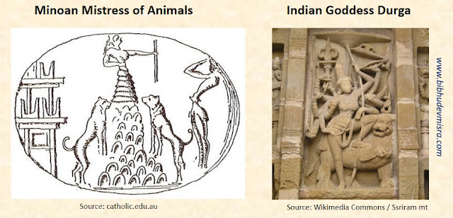 The Minoan Mistress of animals resembles the Indian Goddess Durga