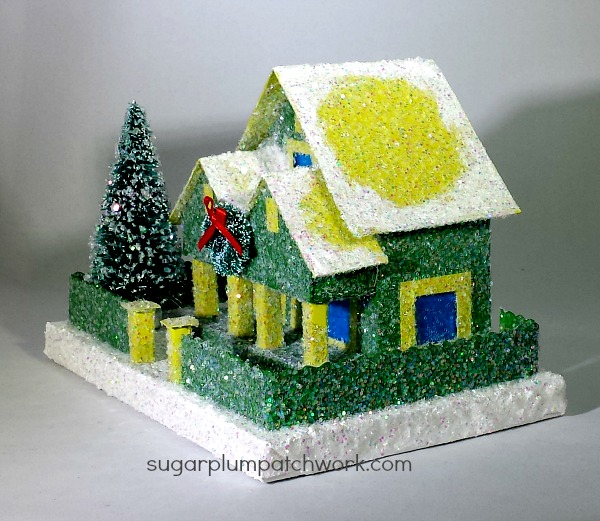 green glitter house side view