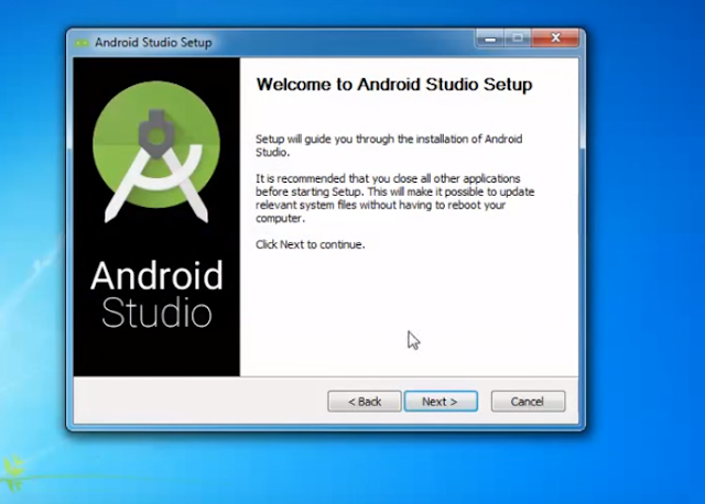 Welcome to Android Studio Installation Screen Click Next