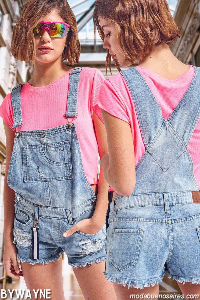Enteritos primavera verano 2020 juveniles. Moda denim primavera verano 2020.