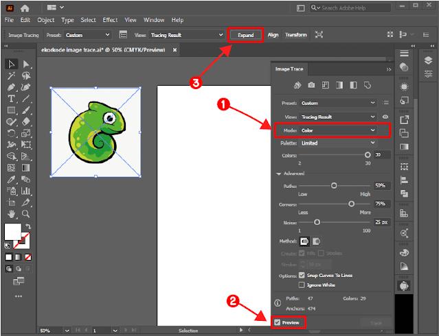 Expand image trace berwarna