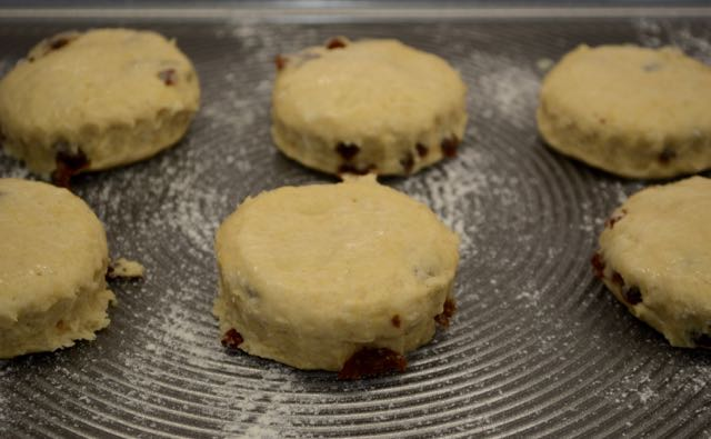 Scones that have been cut out and tops brushed with buttermilk