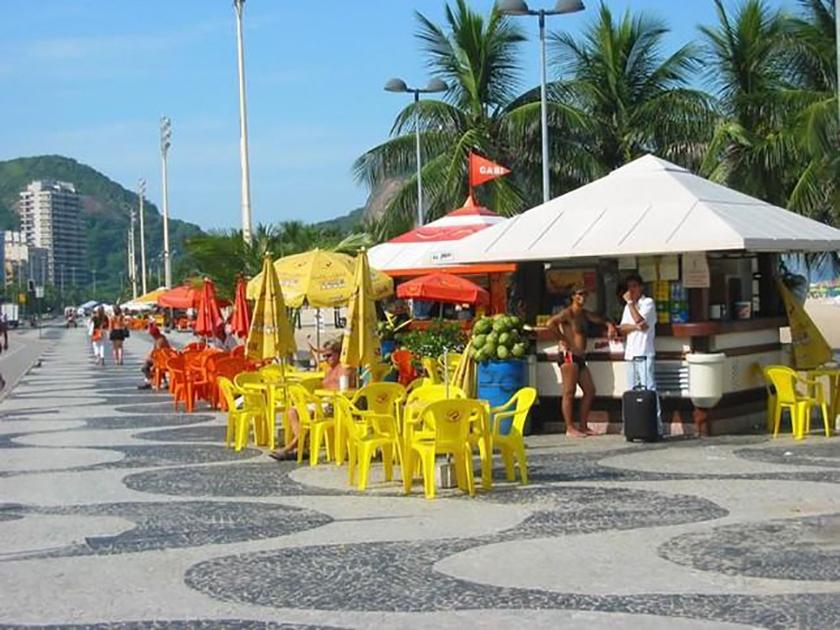 Киоски на пляже Ипанема в Бразилии