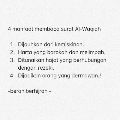 manfaat rutin membaca surat al-waqi'ah
