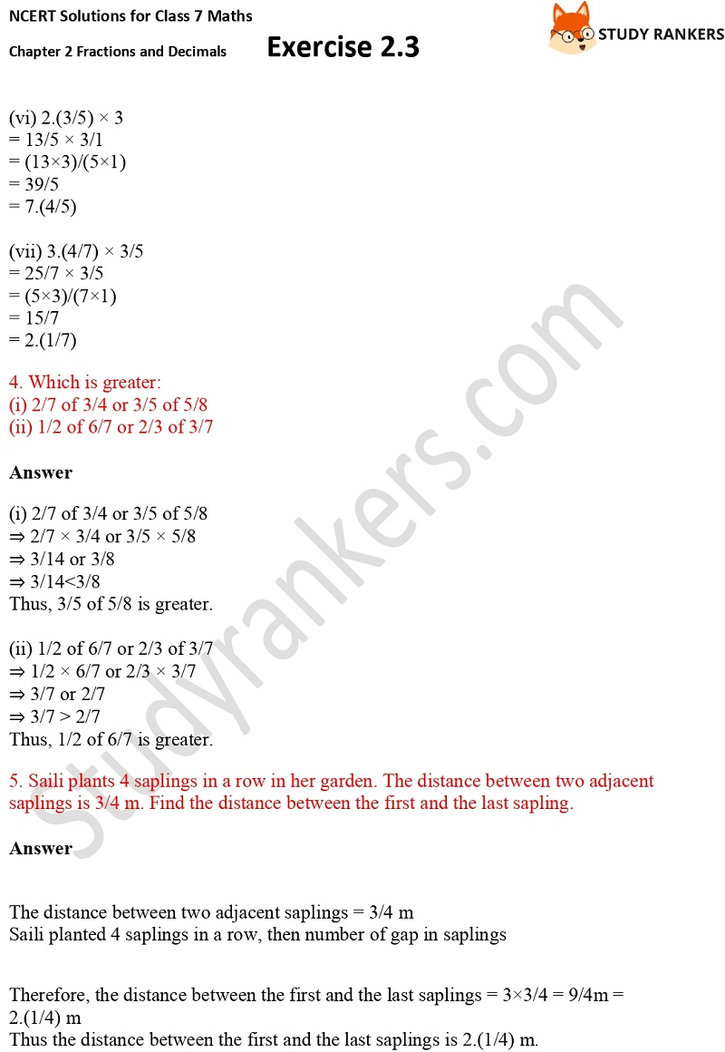 NCERT Solutions for Class 7 Maths Ch 2 Fractions and Decimals Exercise 2.3 4