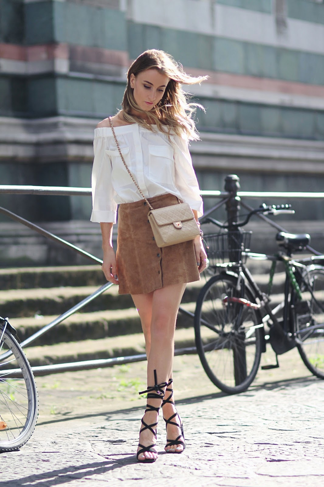 Queen of Jet Lags - Lace Up Heels / Chanel Bag / Suede A Line Skirt